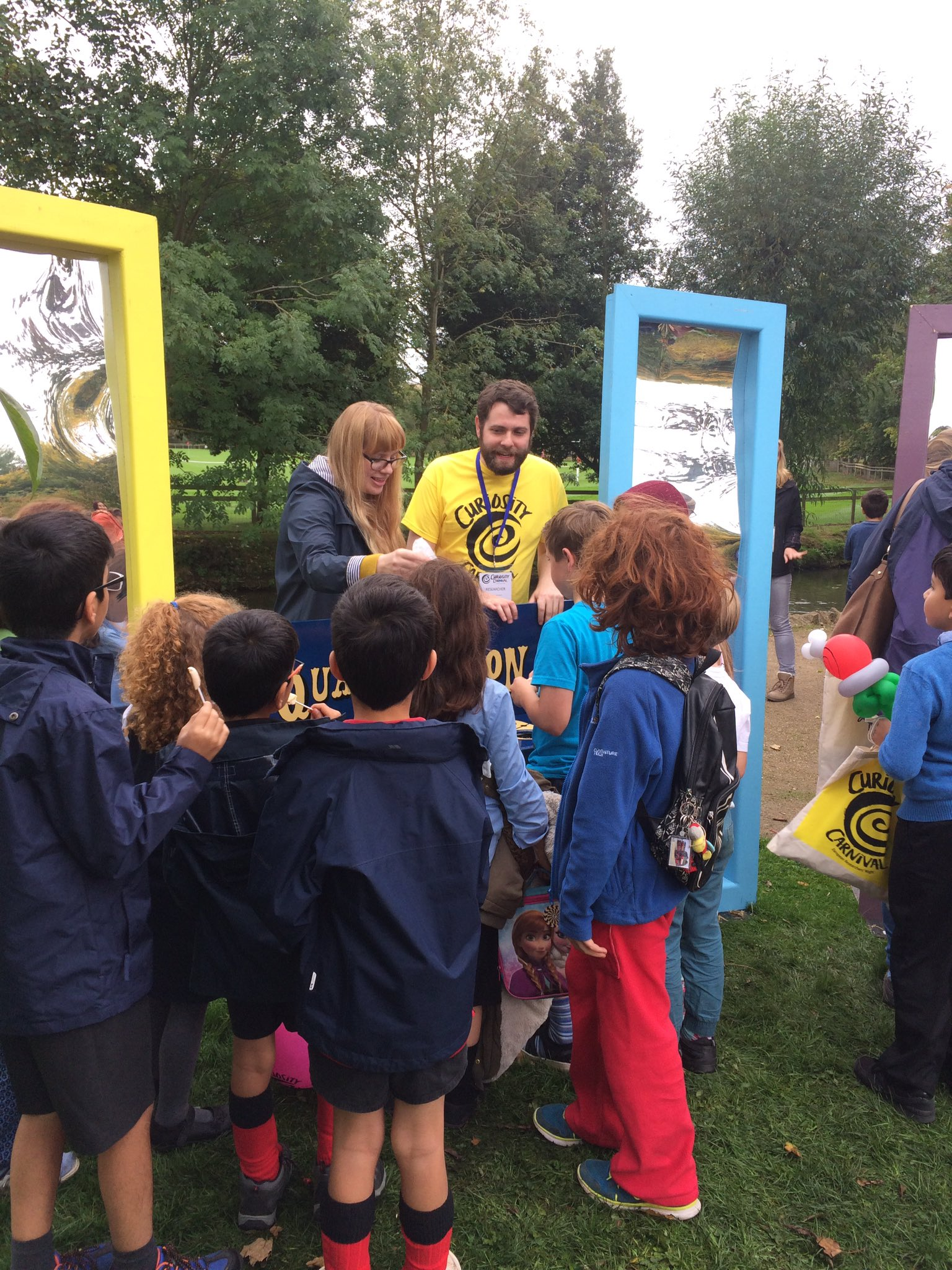 Kids getting involved in the Quantum Story Corner at the Botanic Gardens